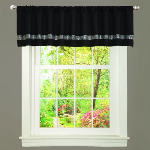 (Lush Decor Night Sky Curtain Valance (Single Panel), Black and Gray)