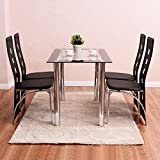 Home Set 5 Piece Dining Set Table and 4 Chairs Wood Metal Kitchen Breakfast Furniture table: 45.3'' x 27.6'' x 29.6''(L x W x H)