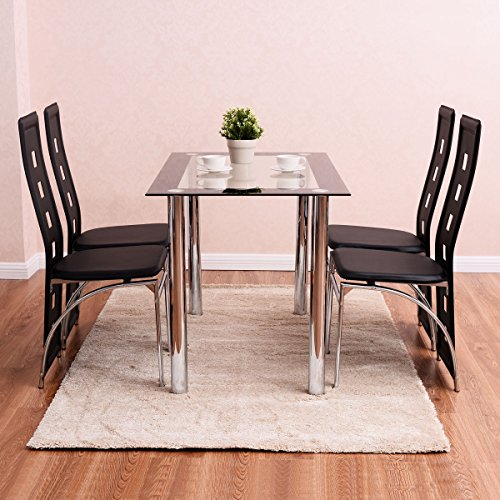 Home Set 5 Piece Dining Set Table and 4 Chairs Wood Metal Kitchen Breakfast Furniture table: 45.3'' x 27.6'' x 29.6''(L x W x H) by L-PH