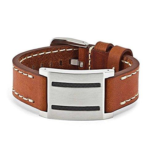 Acier inoxydable en cuir marron, Bracelet avec boucle en fibre de carbone-JewelryWeb