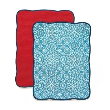 The Pioneer Woman Contemporary and Versatile Bandana Reversible Dish Drying Mat, 2pk