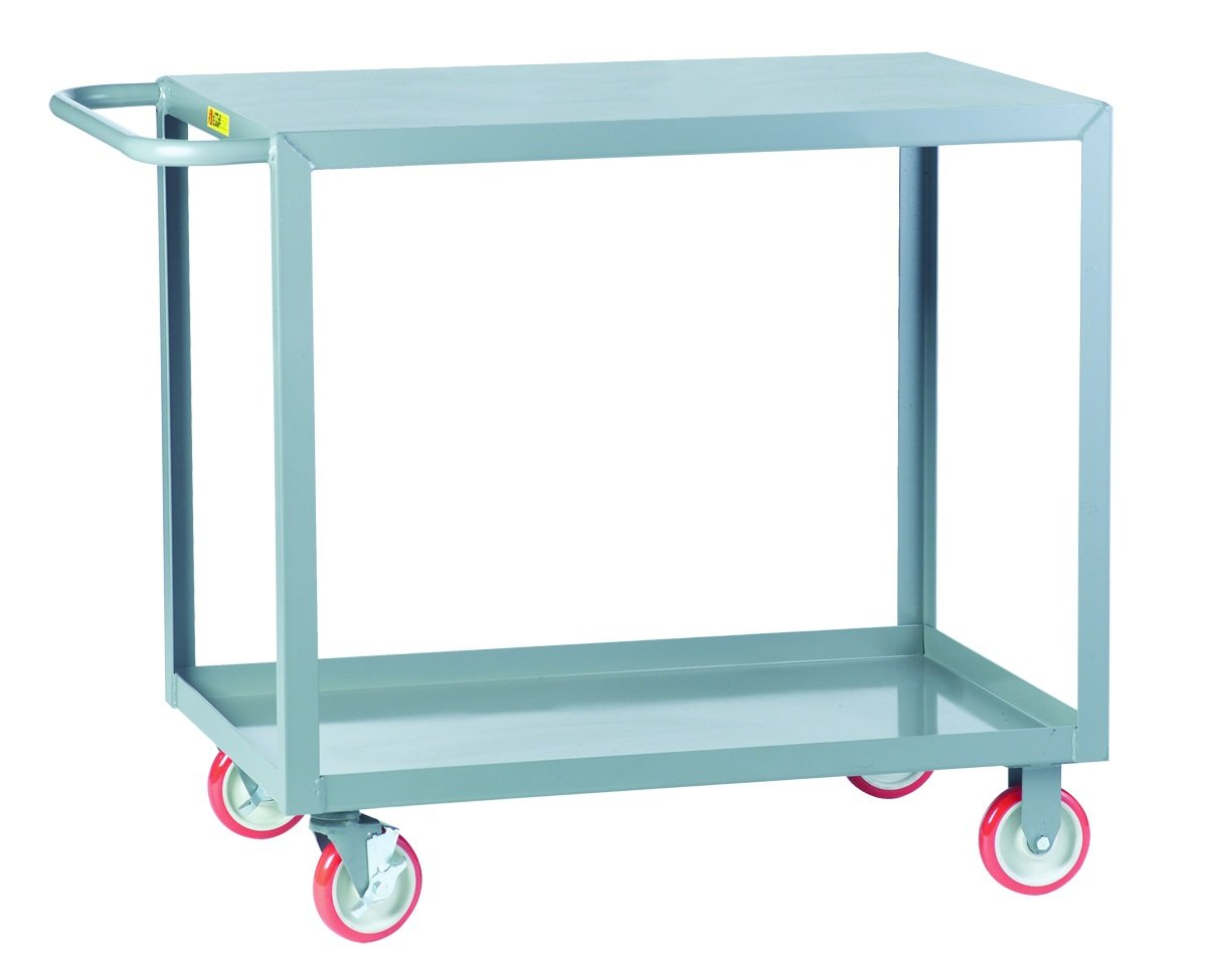 Little Giant LG-2436-BRK Welded Steel Service Cart with Flush Top Shelf and Wheel Brakes, 2 Shelves, Gray, 1200 lbs Load Capacity, 35'' Height x 24'' Width x 36'' Length