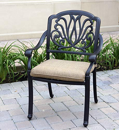 Darlee Elisabeth Cast Aluminum Dining Chairs with Seat Cushions, Set of 4, Antique Bronze Finish