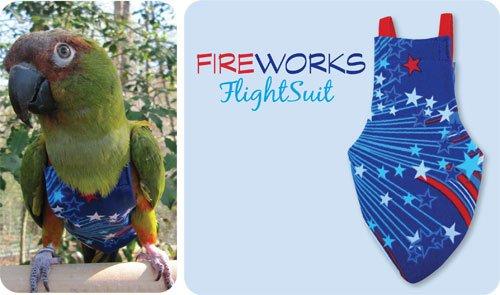 X-Small FlightSuit (Bird Diaper) w/Leashette plus Flightliners (Fireworks) (Flight Suit For Birds)