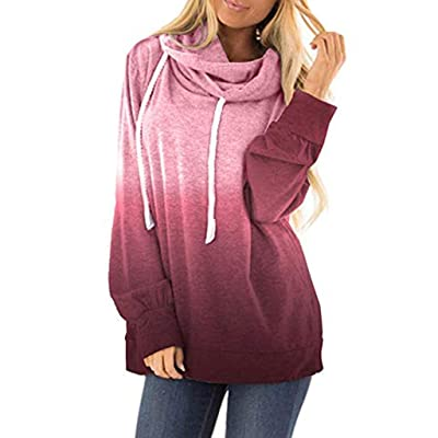 Lloopyting Womens Casual Hooded Contrast Hoodies Long Sleeve Print Sweater Sweatshirt Loose Drawstring Pullover Hoodies: Clothing