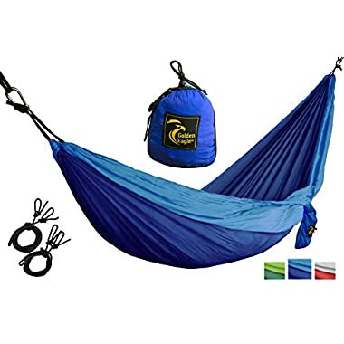 Golden Eagle Portable Camping Parachute Silk Single Hammock. Premium Quality. (dark blue/light blue)