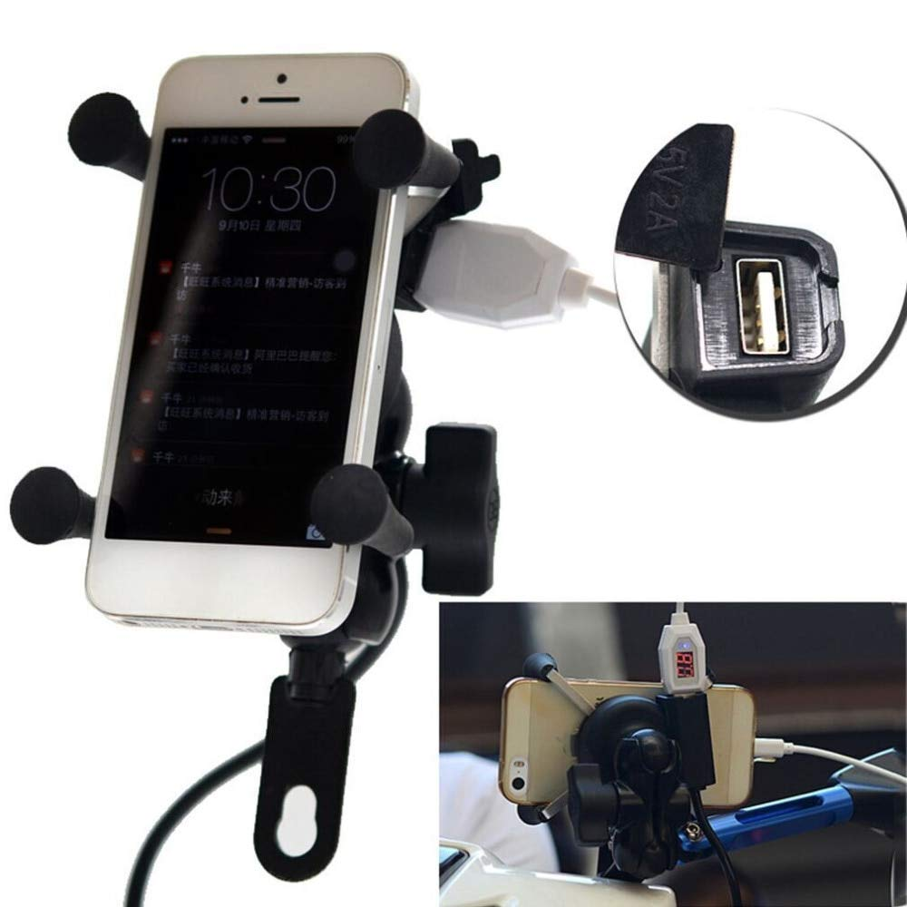 Universal 12V Motorcycle Cell Phone & GPS Mount Holder X Grip Clamp with USB Charger 5V/2A for Electric Bicycle Scooter ATV