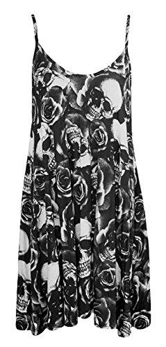 Forever Womens Strap Rose Skull Check Spicy Boom Print Swing Dress - Plus Size Skull Dresses For Women