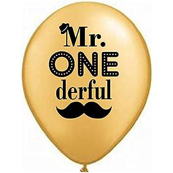 Mr. Onederful Balloons - Set of 3 - Gold with Black - 1st Birthday Balloon - 1st Birthday Decoration Boy - First Birthday