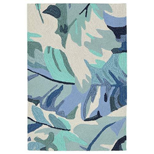 Liora Manne CAP23166803 Capri Classic Tropical Frond Palm Leaf Indoor/Outdoor Rug 2' X 3' Blue ()