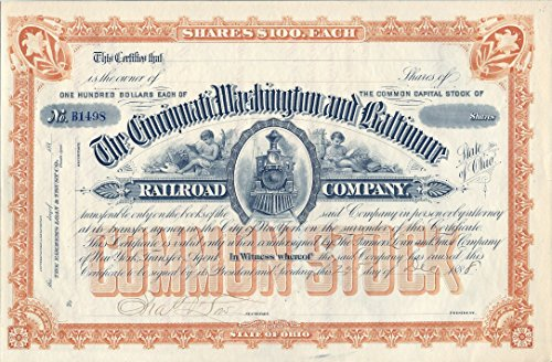 Stock Certificate Cincinnati, Washington and Baltimore Railroad Company Dated December ()