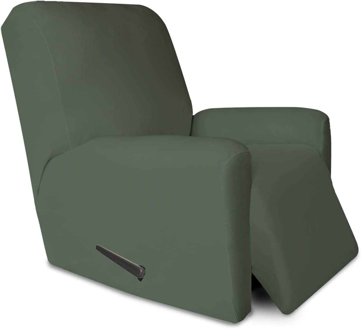 PureFit Super Stretch Chair Sofa Slipcover with Pocket – Spandex Non Slip Soft Couch Sofa Cover, Washable Furniture Protector with Elastic Bottom for Kids, Pets (Recliner, Grayish Green)