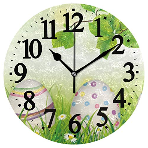 WIHVE Wall Clock Easter Eggs Grass Rabbit Ears