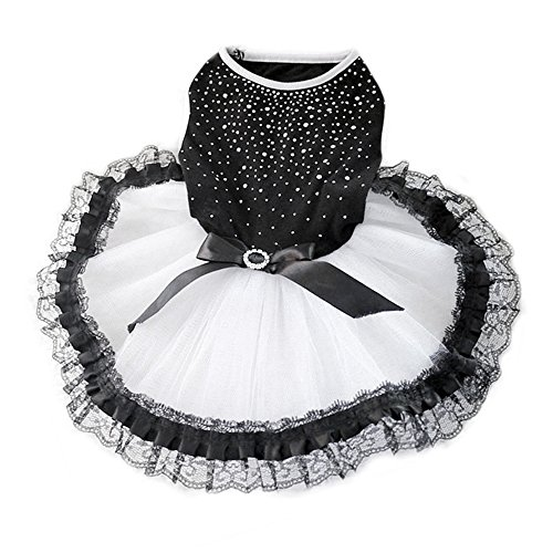 Alamana Tutu Dog Dress Bow Rhinestone Pet Puppy Princess Lace Skirt Clothes (Dress Rhinestone Dog)