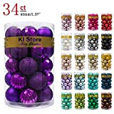 KI Store 34ct Christmas Ball Ornaments 1.57-Inch Purple Small Shatterproof Christmas Decorations Tree Balls for Xmas Wedding Party, Tree Ornaments Hooks Included