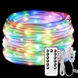 LE Dimmable LED Rope Lights, USB Powered 10m 100 LEDs Waterproof IP65, 8 Lighting Modes, Flexible Strip Lights for Outdoor Garden Patio Party Christmas Wedding DIY Decoration, RG