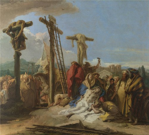 Polyster Canvas ,the Amazing Art Decorative Canvas Prints Of Oil Painting 'Giovanni Domenico Tiepolo The Lamentation At The Foot Of The Cross ', 20 X 22 Inch / 51 X 56 Cm Is Best For Kids Room Decor And Home Decoration And Gifts