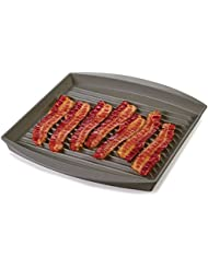"Prep Solutions by Progressive Microwave Large Bacon Grill - Gray, , 7-9 Strips of Bacon, Cook Frozen Snacks, Frozen Pizza, Measures 12"" L x 10"" W"