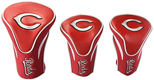 (Team Golf MLB Cincinnati Reds Contour Golf Club Headcovers (3 Count), Numbered 1, 3, & X, Fits Oversized Drivers, Utility, Rescue & Fairway Clubs, Velour lined for Extra Club Protection)