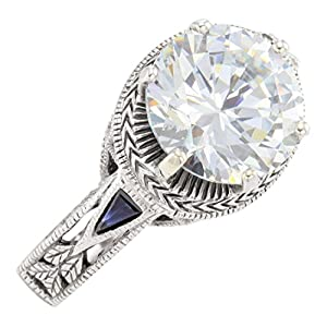 Art Deco Style Sterling Silver 3.0ct Cubic Zirconia Ring