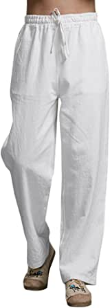 Hooleeger Pantalones largos de lino para hombre, para el tiempo libre, de verano, de algodón, ligeros, sueltos
