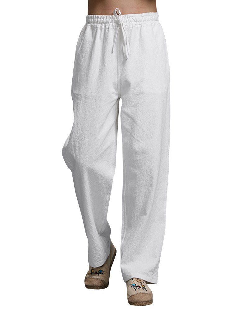 Enjoybuy Mens Summer Cotton Linen Long Casual Pants Elastic Waist Loose Fit Beach Pants (X-Large, 02-White)
