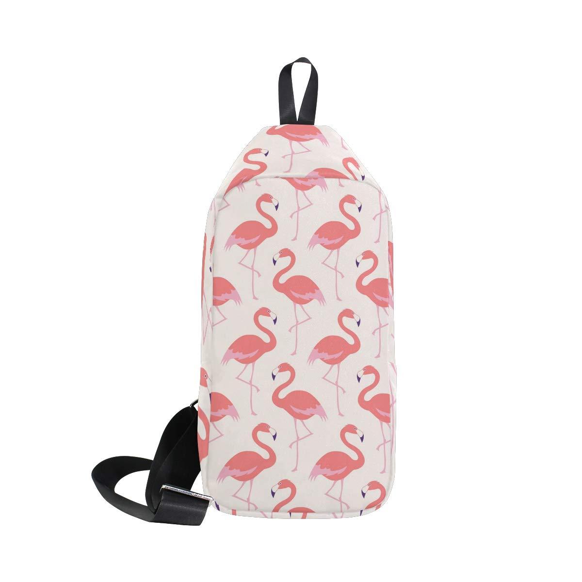 Unisex Messenger Bag Flamingo Bird Shoulder Chest Cross Body Backpack Bag