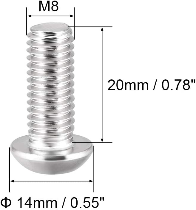 uxcell M8x20mm Machine Screws Hex Socket Round Head Screw 304 Stainless Steel Fasteners Bolts 10pcs