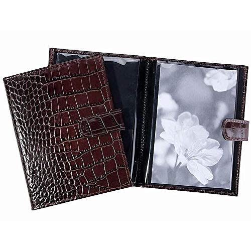 Brown Croco-Embossed Fine Leather BRAG BOOK for 20 prints by Graphic Image™ - 4x6 by Graphic Image (Image #1)