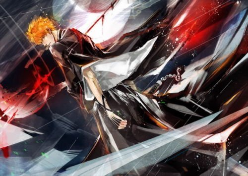 Bleach Ichigo Rukia (Tomorrow sunny 24X36 INCH / ART SILK POSTER / 044 Bleach - Dead Rukia Ichigo Fight Japan Anime)