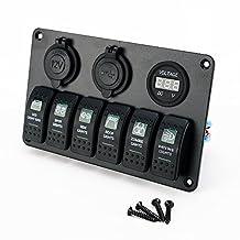 Waterproof 6 Gang Rocker Switch Panel Breaker LED Car Marine Boat Circuit - Green