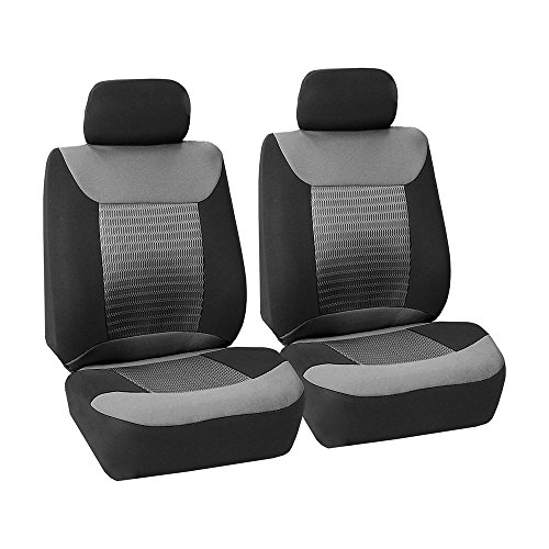 FH Group FB062GRAY102 Seat Cover (Premium Fabric with 3D Air Mesh Airbag Compatible (Set of 2) Gray) (Toyota Echo Seat Covers)