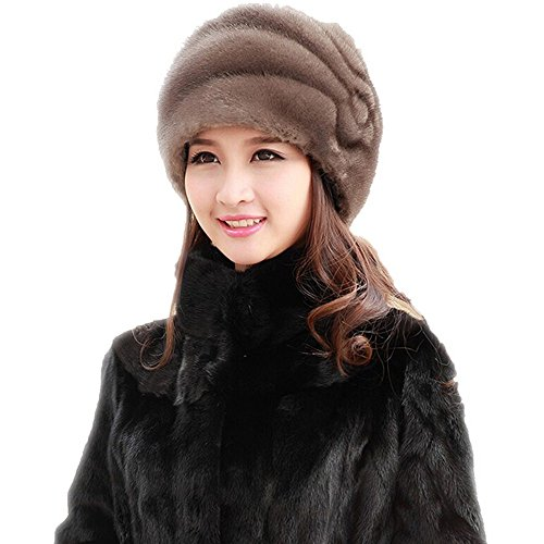 New Fashion Women's 100% Real Genuine Mink Fur Cap Mink Full Fur Beret Hats Multicolors (M, gray)