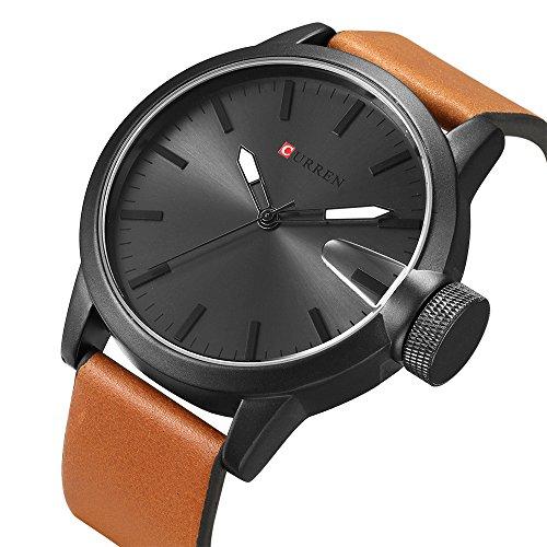 CURREN Original Brand Men's Sports Waterproof Leather Strap Wrist Watch 8208 Black Brown Black