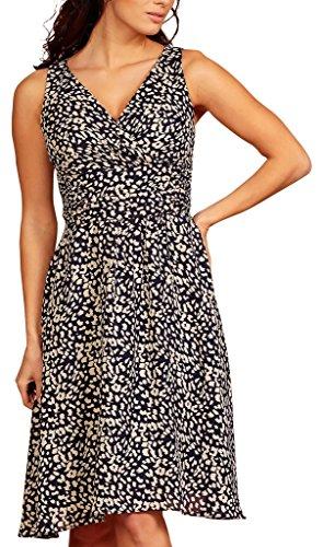 Dress My Vestido Print gasa Leopard cuello Evening pico cóctel en Black fiesta corto rrEFS5xqw