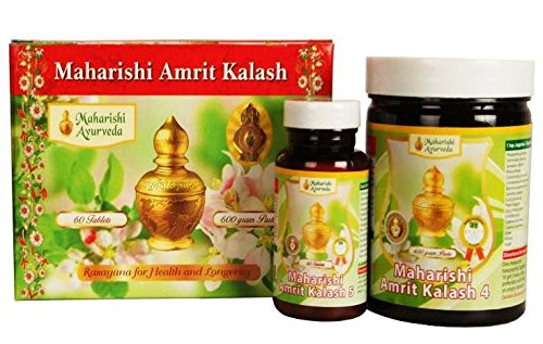 MAHARISHI AMRIT KALASH MAK 4 & 5 Combo Pak - Herbal Fruit Concentrate 600g + Ambrosia 500mg 60 Tablets