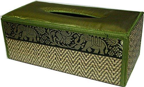 TOPMOST N-9007, Handmade Thai Woven Straw Reed Rectangular Tissue Box Cover with Silk Elephant Design 5x3.7x10.2 Inch