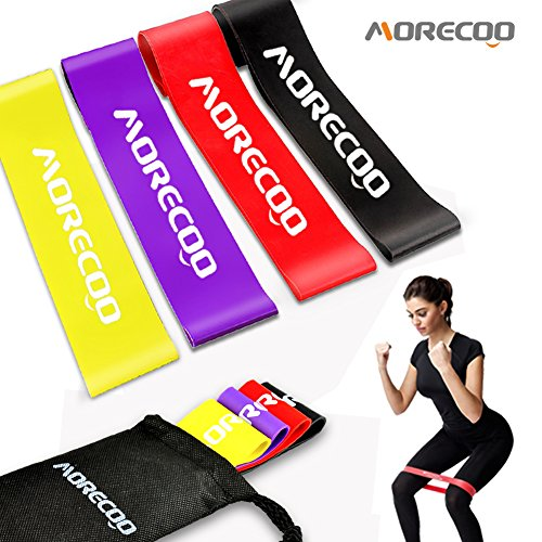 MORECOO Resistance Loop Bands Exercise Bands for legs Home& Gym Workout Bands for Yoga Fitness Stretching and Physical Therapy Includes Exercise Guides&Handy Carry Bag (Set of 4 pcs)