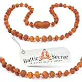 Image of Baltic Amber Teething Necklace, 50% Richer and More Effective, Raw Unpolished Amber Beads - Extra Safe Lab Tested & Certified, Teething Pain & Drooling Reduce Properties /DCGN.U-BRQ / 35.5CM / 14IN