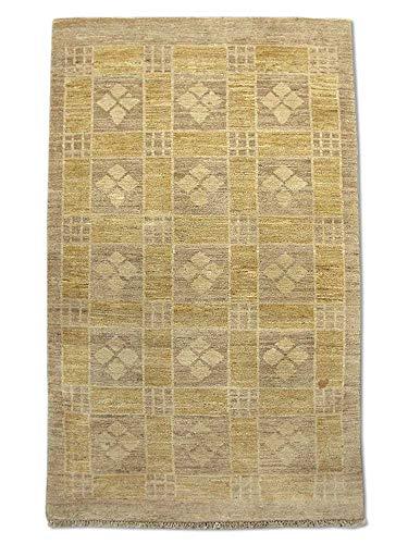 Pak Persian Rugs Modern Chobi Handmade Gabbeh Rug, Wool, Camel/Beige, 2' 11