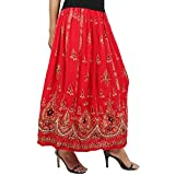 Suman Enterprises Belly Dance Skirt,Indian Long Partywear Skirt wd Sequin (Red)