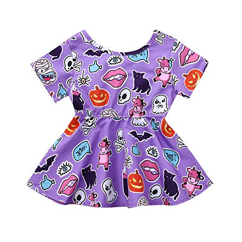 Toddler Baby Girls Dress,Infant Kinds Cartoon Animals Print Princess Dress Halloween Costume Outfits (0-6 Months, Purple) -