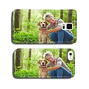 Woman with Golden Retriever in the forest cell phone cover case iPhone5