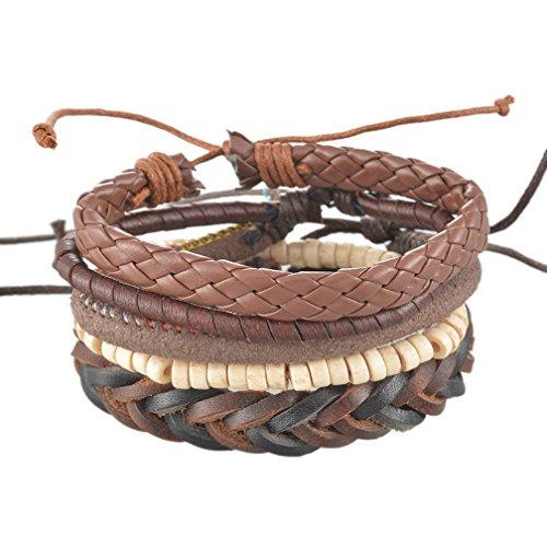 MJartoria Unisex PU Leather Hemp Cords Beaded Multi Strands Adjustable Wrap Bracelets Set of 5 Brown (Hemp Bracelet Pack compare prices)
