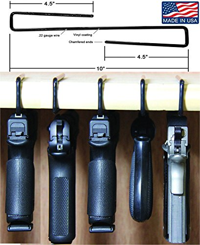 Safety Solutions For Gun Storage Pack of 5 Original Pistol Handgun Hangers (Hand made in USA) (5 hangers)