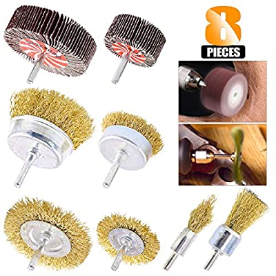 Rustark 8 Pcs Wire Brush Drill Attachments Kit 1/4 Inch Shank6 Piece Brass Coated Bristles and 2 Piece 80 Grit Abrasive Flap Wheel for Removing Rust Paint Polishing