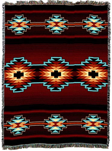 Pure Country Weavers | Esme Southwest Blanket | Woven Throw with Fringe Cotton USA 72x54