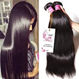 Unice Hair 7a Malaysian Straight Hair 3 Bundles Virgin Unprocessed Human Hair Wefts Hair Extensions Deal with Mixed Lengths 100% Human Hair Extensions (12 14 16, Natural Black)