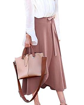 Yonglan Las Mujeres Falda de Vuelo De Color Solido De La Cintura ...