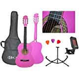 Odoca OCA-10 Pink Left Handed Classical Acoustic Nylon String Guitar Package 1/2 (34 inches)